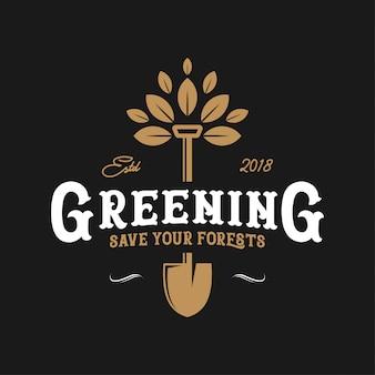 Greening logo vintage design