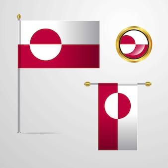 Progettazione d'ondeggiamento della bandiera della groenlandia con il vettore del distintivo