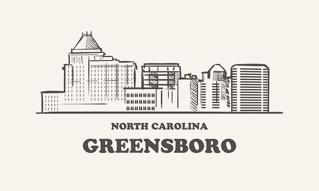 Orizzonte di greensboro, schizzo disegnato della carolina del nord