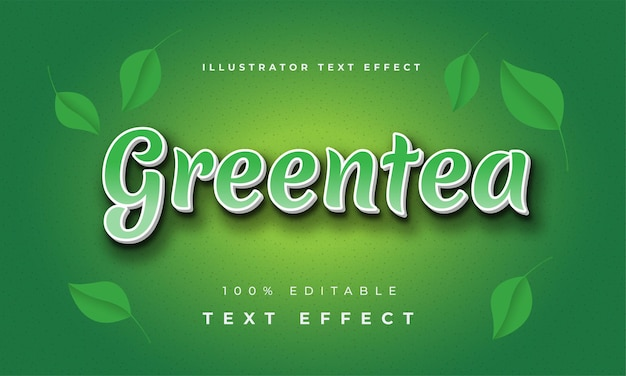 Effetto di testo di greentea illustratore moderno