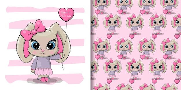 Biglietto d'auguri di auguri cute cartoon rabbit girl con un palloncino Vettore Premium