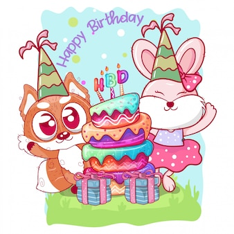 Biglietto d'auguri di compleanno con simpatici conigli e volpi