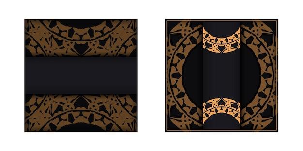 Brochure di auguri in nero con motivo mandala marrone