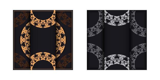 Brochure di auguri in nero con motivo vintage marrone