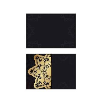 Brochure di auguri in nero con ornamenti greci in oro per il tuo design.
