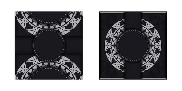 Brochure di auguri in nero con motivo vintage