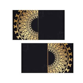 Modello di brochure di auguri in nero con motivo di lusso in oro