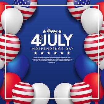 Biglietto di auguri del 4 luglio, giorno dell'indipendenza degli stati uniti con cornice di palloncino colorato di elio e bandiera americana