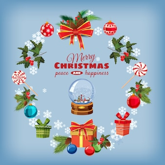 Biglietto di auguri natalizio con rami di pino, decorazioni, caramelle, nastri, globo di neve, scatole di regali
