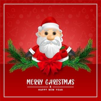 Biglietto di auguri simpatico babbo natale su sfondo rosso per buon natale e felice anno nuovo illustrazione della carta