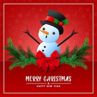 Biglietto di auguri carino pupazzo di neve su sfondo rosso per buon natale e felice anno nuovo carta illustrazione vettoriale