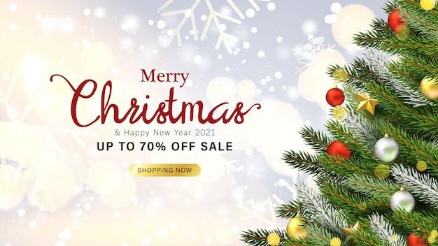 Biglietto di auguri design e banner di vendita con oggetti natalizi
