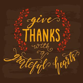 Disegno di auguri con lettering ringraziamenti con un cuore grato. illustrazione vettoriale
