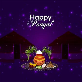 Biglietto di auguri per una felice celebrazione pongal con pentola di fango e kalash