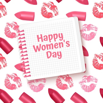Biglietto di auguri happy women's day card con rossetto e stampa bacio.
