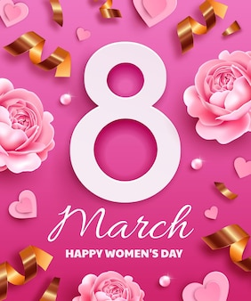 Biglietto di auguri per la giornata internazionale della donna (8 marzo). numero 8 con fiori, serpentine, perle e cuori di carta.
