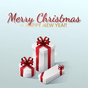 Biglietto di auguri, invito con felice anno nuovo 2021 e natale. scatole regalo con fiocchi e nastri. illustrazione isometrica sull'azzurro
