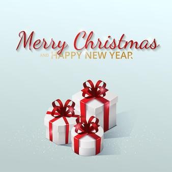 Biglietto di auguri, invito con felice anno nuovo e natale. scatole regalo con fiocchi e nastri. illustrazione isometrica su sfondo blu.
