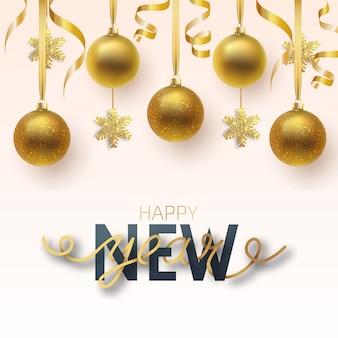Biglietto di auguri, invito con felice anno nuovo e natale. palle di natale metalliche oro e fiocco di neve, decorazione, coriandoli lucidi su sfondo bianco.