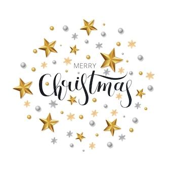 Biglietto di auguri, invito con felice anno nuovo e natale. stelle d'oro metalliche, decorazioni, luccicanti su uno sfondo bianco.