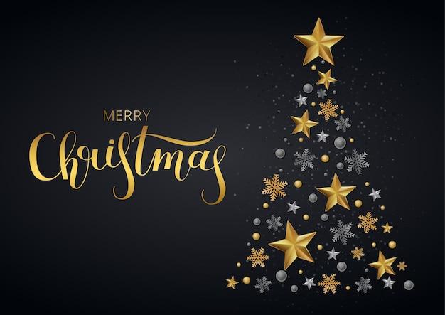 Biglietto di auguri, invito con felice anno nuovo e natale. stelle d'oro metalliche, abete, luccicanti su uno sfondo nero.