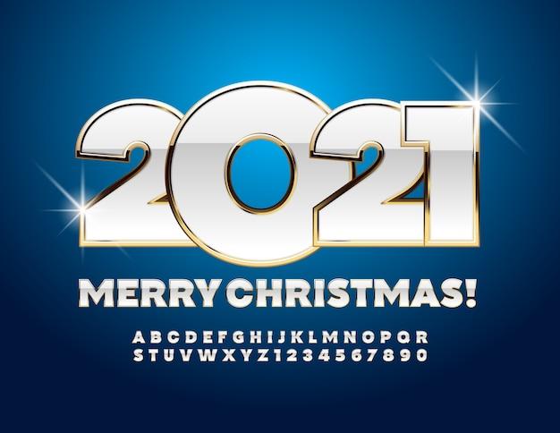 Biglietto di auguri buon natale 2021! lettere e simboli dell'alfabeto oro e bianco. carattere chic