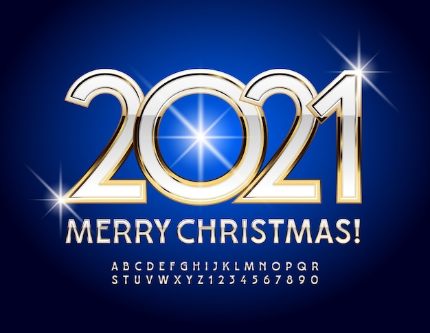 Biglietto di auguri buon natale 2021! carattere bianco e oro. lettera e numeri dell'alfabeto chic