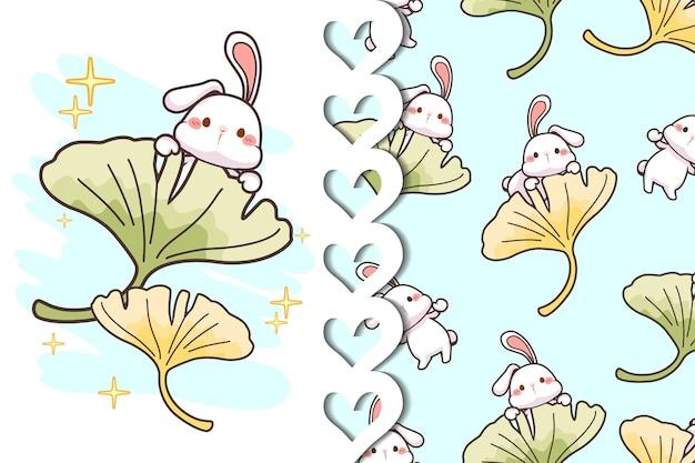 Biglietto di auguri e pattern di coniglio e foglie di ginkgo