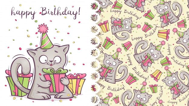 Biglietto di auguri e modello con un gattino divertente e regali.