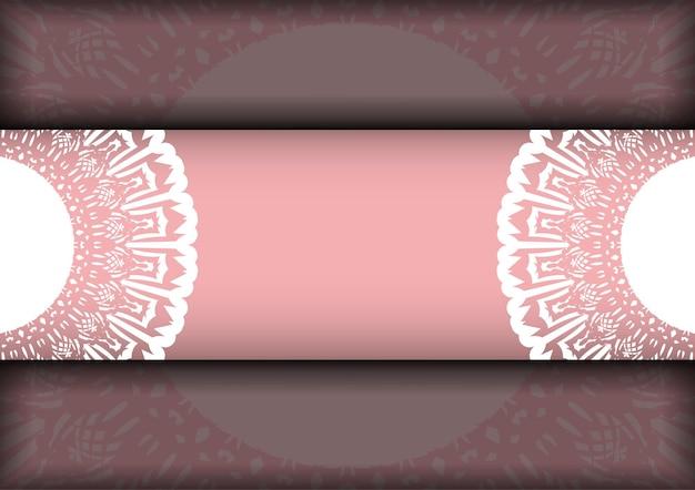 Biglietto di auguri in rosa con motivo greco bianco preparato per la tipografia.