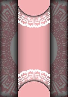 Biglietto di auguri in rosa con motivo greco bianco per il tuo marchio.