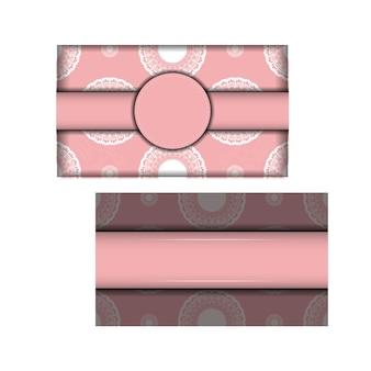 Biglietto di auguri in rosa con motivo greco bianco per il tuo design.