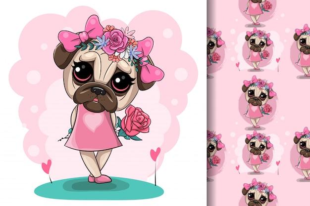 Cartolina d'auguri cucciolo ragazza con fiori su uno sfondo rosa