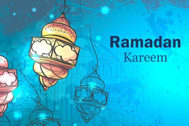 Biglietto di auguri ramadan kareem. lampade per il ramadan.