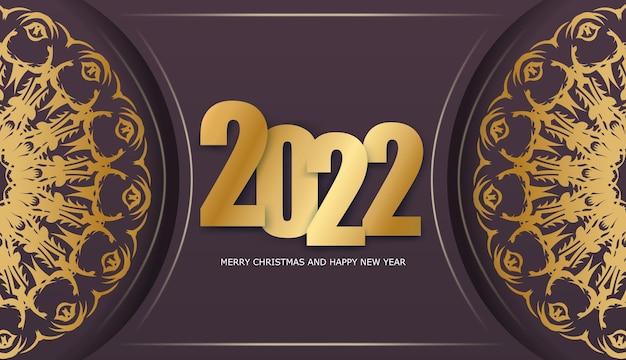 Modello di biglietto di auguri 2022 felice anno nuovo colore bordeaux con motivo oro vintage