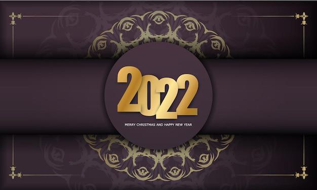 Modello di biglietto di auguri 2022 buon natale e felice anno nuovo colore bordeaux con motivo oro invernale