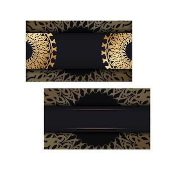 Modello di biglietto di auguri in colore nero con ornamento greco dorato