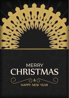 Modello di biglietto di auguri buon natale e felice anno nuovo colore nero con motivo arancione invernale