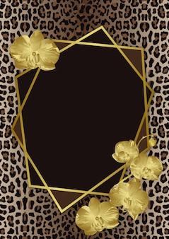 Modello di biglietto di auguri con orchidee leopardate e cornice geometrica artdeco