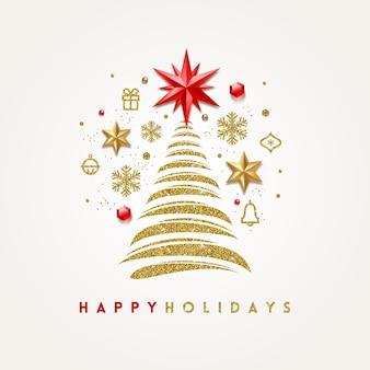 Biglietto di auguri con albero di natale astratto e decorazioni per le vacanze