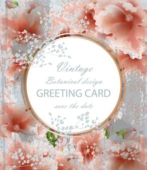 Biglietto di auguri con bellissimi fiori rosa delicati