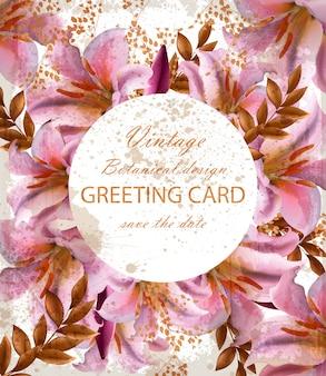 Biglietto di auguri con bellissimi fiori rosa