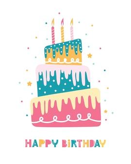 Biglietto di auguri con torta di compleanno con candele