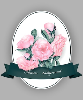 Biglietto di auguri con rose in fiore biglietto di compleanno illustrazione vettoriale
