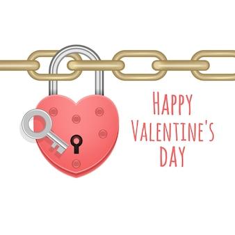 Biglietto di auguri con lucchetto a cuore chiuso appeso alla catena isolato su bianco per san valentino
