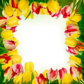 Biglietto di auguri con fiori colorati.