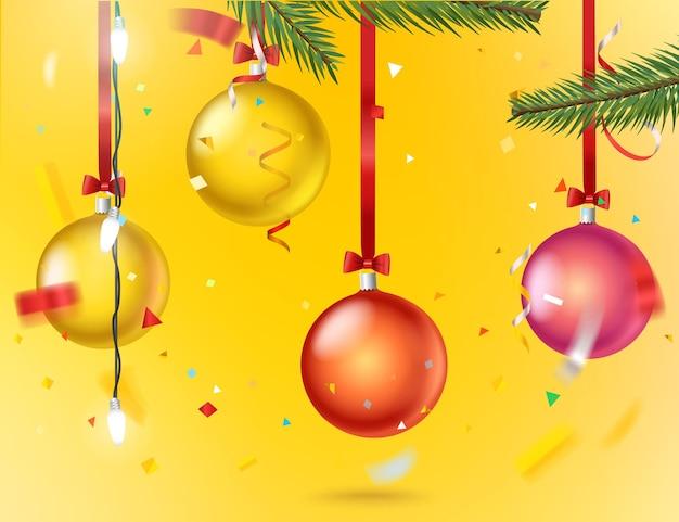 Biglietto di auguri con coriandoli e palline di colore