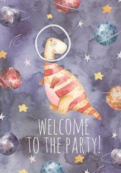 Biglietto di auguri con simpatico dinosauro astronauta pianeti stelle simpatica illustrazione ad acquerello