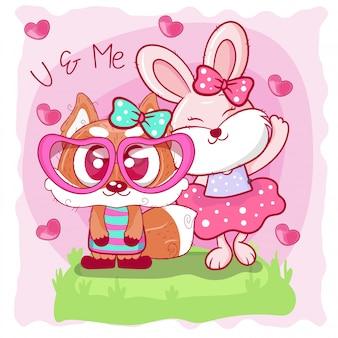 Biglietto di auguri con cute volpe e coniglietto cartoon