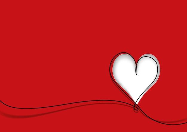 Biglietto di auguri a forma di cuore carino e linea nera su rosso